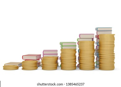 Gold coin stacks and book stacks isolated on white background. 3D illustration.