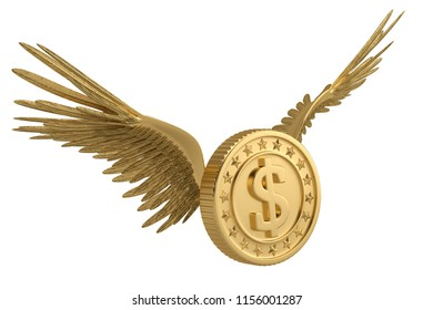 Gold coin with gold wings flying coin isolated on white background 3D illustration.