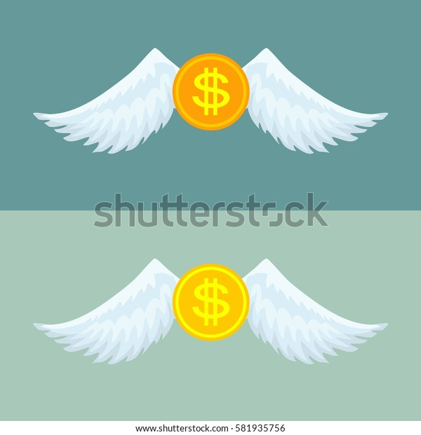 Gold coin with wings. Stock illustration