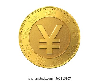 Gold coin with yen sign. 3d rendering.