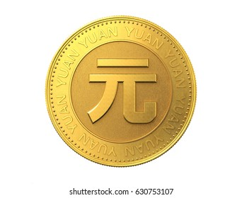 Gold coin with yuan sign. 3d rendering.