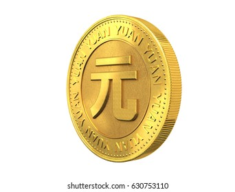 Gold coin with yuan sign.3d rendering.