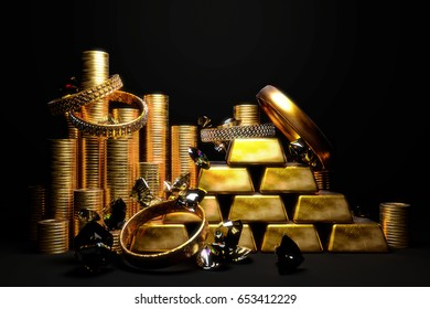 Gold coins and ingots with jewelry and diamonds on black background. 3D illustration.