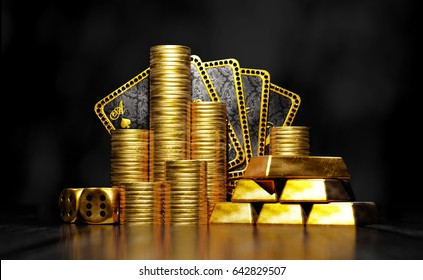 Gold coins and ingots with poker cards hand on black background and reflective surface. 3D illustration.