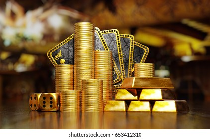 Gold coins and ingots with poker cards hand on reflective surface. 3D illustration.