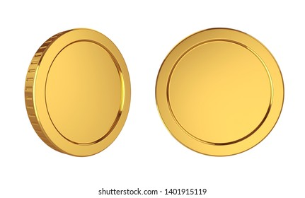 Gold coins isolated on white background, 3D rendering