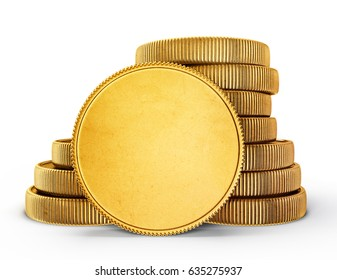 gold coins isolated on a white. 3d illustration