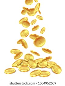 Gold coins pile. Golden coin money heap cash wealth, flying metal dollars treasure piles. Casino jackpot win bonus, richness image
