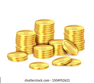 Gold coins stack. Realistic golden dollar coin money pile, stacked cash. Casino bonus, profits and income earnings isolated concept