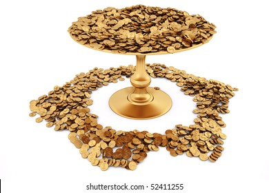 a lot of gold coins in the vase. isolated on white