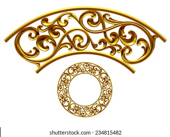 gold colored ornamental segment for a circle or a corner. This ninety degree angle complements my items for a frieze or frame.