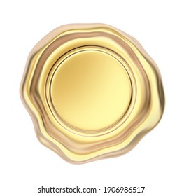 Gold colored wax seal isolated on white background. 3D illustration
