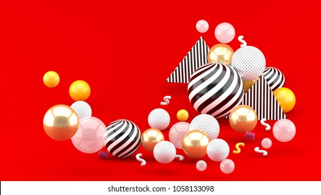 Gold and Colorful Balloon floating on a red bacground 3d render.