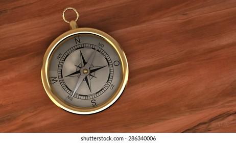 Gold Compass Navigation Travel World Destination