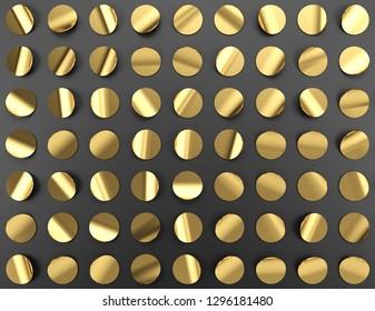 Gold confetti on black background, 3d illustration.