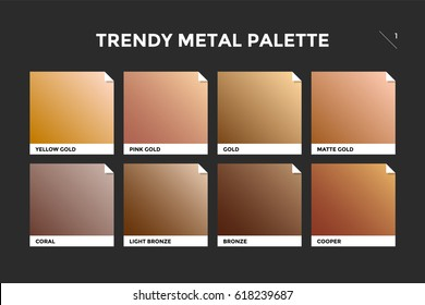 Gold, copper and bronze gradient template. Collection palette of colorful metallic gradient illustrations for backgrounds and textures. Realistic metallic squares palettes. Illustration