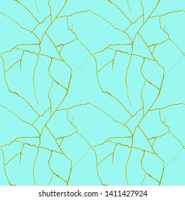 Gold cracks on azure blue seamless pattern - kintsugi concept, golden crinkles, broken pottery texture