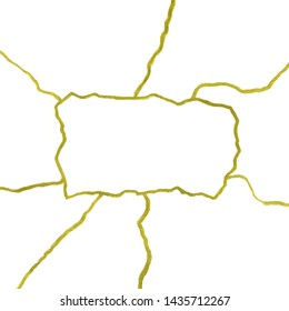 Gold cracks on white background banner template - kintsugi concept illustration, golden crinkles, broken pottery texture