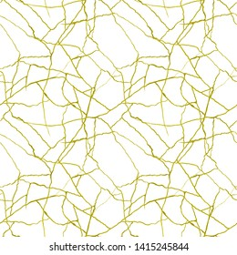 Gold cracks on white seamless pattern - kintsugi concept, golden crinkles, broken pottery or howlite stone texture