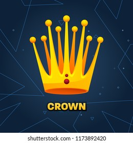Gold crown. crown awards for winners, leadership. Royal king, queen. Luxury sign, icon of monarch or vintage coronet. Kinds of beautiful luxury. illustration.