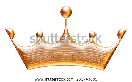 Gold Crown Representing Royalty Wealth Award Stock Illustration