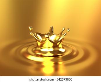 Gold Crown Splash 3d illustration