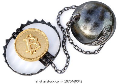 Gold cryptocurrency coin of bitcoin in trap on white background. Crypto currency financial trap concept. 3d rendering.