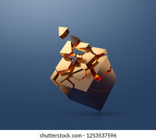 Gold cube is fragmenting while flating in the air. 3D render.