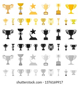 Gold Cup cartoon icons in set collection for design. Winners Cup bitmap symbol stock web illustration.