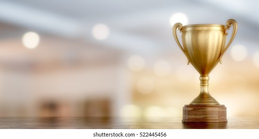gold cup winner on bokeh background, 3D illustration