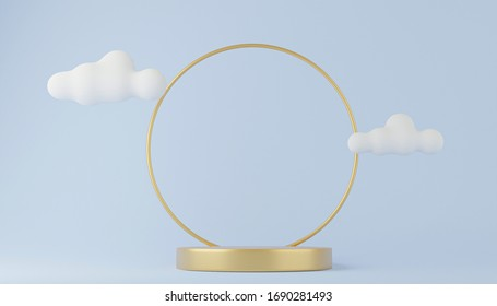 Gold cylinder podium & white cloud platforms for cosmetic product presentation. 3d rendered illustration with geometric shapes. mock up minimal design with empty space. Abstract composition modern