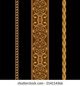 gold decorative borders set, classical design elements isolated on black, illustration