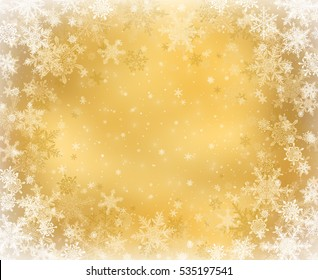 Gold decorative christmas background with snowflakes