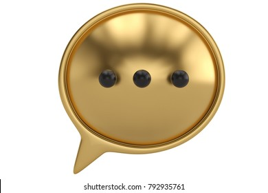 Gold dialog box on white background 3D illustration.