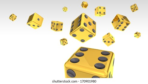 Gold Dice on White Backgound 3D Illustration (with clipping path)