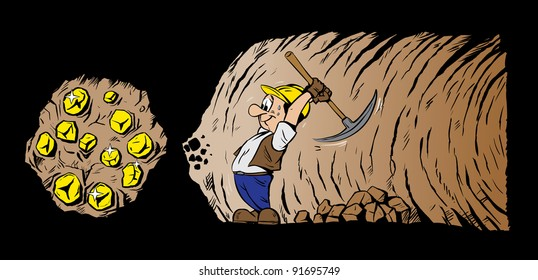 Gold digger mining for gold