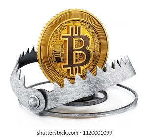 Gold digital coin in ready bear trap. 3D illustration.