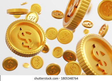 Gold dollar coins fall and floating in air on isolated white background with concept business finance,saving,exchange and currency trading, deposit and financial growth, 3d rendering illustration.