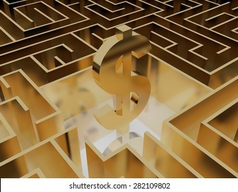gold dollar sign in the middle of a mysterious maze