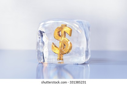 Gold dollar symbol frozen in the ice cube. Economy slowdown, currency stagnation or debt freeze creative illustration.