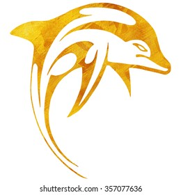 Gold dolphin on white background