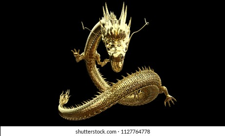 Gold dragon post with 3D rendering.