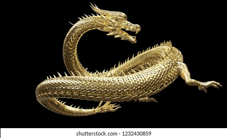 The gold dragon in smart pose with 3d rendering.