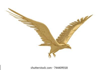 Gold eagle on white background.3D illustration.