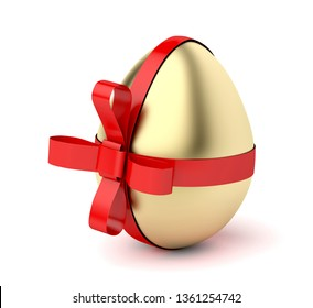 Gold egg with red ribbon, Easter decoration. 3D illustration