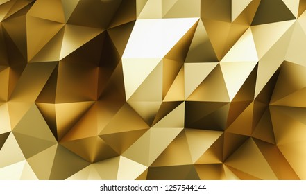 Gold elegant luxury Abstract golden or gold Low-poly Background - 3D illustration