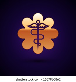 Gold Emergency star - medical symbol Caduceus snake with stick icon isolated on dark blue background. Star of Life.