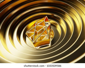 Gold EOS on the gold circle background. 3D illustration of Blockchain, btc, coin, crypto, cryptocurrency, eos
