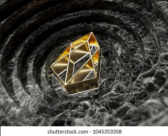 Gold EOS Symbol in the Black Marble Background. 3D Illustration of Gold EOS Logo for Good News and Price Is Up and Stable.