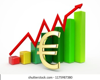 gold euro sign and 3d graphic grown up illustration